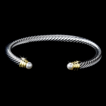 Designer Inspired Silver Cable Bangle Bracelet w/ Pearls 3201