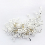 Diamond White Floral Organza & Lace Comb with Gold Accents