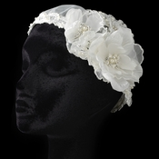 ✧SPECIAL ORDER ONLY✧  Diamond White Floral Tulle Lace & Sheer Organza Cap