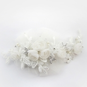 ✧SPECIAL ORDER ONLY✧ Diamond White Organza, Lace & Tulle Floral Comb