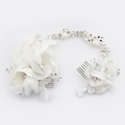 ✧SPECIAL ORDER ONLY✧ Diamond White Organza & Lace Twin Flower Headpiece Comb (Minimum order 24 pieces x $34 each)