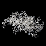 Silver Diamond White Pearl & Crystal Floral Vine Hair Comb 4426