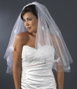 Double Layer Elbow Length Veil with Flower Embroidery Accents & Pearls 503