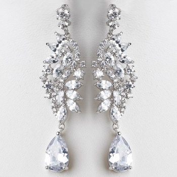 Rhodium Silver Marquise Dangle Earrings 3902