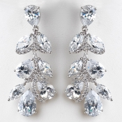 Rhodium Silver Clear CZ Teardrop Dangle Earrings
