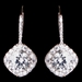 Rhodium Silver Round Pave CZ Dangle Earrings 3907