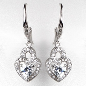 Rhodium Silver CZ Leverback Heart Dangle Earrings 3910