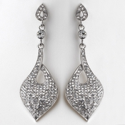 Regal Drop Rhodium Clear Earrings 9894