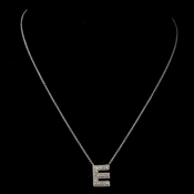 """E"" Clear Rhinestone Letter Initial Pendant Necklace 1"