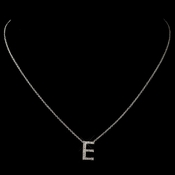 """E"" Sterling Silver CZ Crystal Initial Necklace 4407"