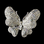 * Elegant Antique Silver AB Rhinestone Butterfly Brooch or Hair Pin 7444