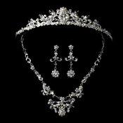 Elegant Crystal & Pearl Matching Tiara Jewelry Set NE 7500 & HP 7052