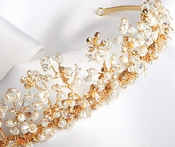 * Elegant Gold Crystal & Freshwater Pearl Princess Tiara HP 2708 ***1 Left***