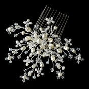 Elegant Ivory Crystal Pearl Flower Bridal Hair Comb - Comb 8430