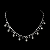 Elegant Antique Silver Clear CZ & Pearl Necklace N 3842