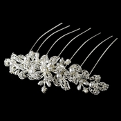 Elegant Silver or Gold Bridal Hair Comb w/ Pearls & Rhinestones 8911