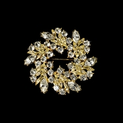 * Elegant Vintage Crystal Bridal Pin for Hair or Gown Brooch 19 Gold Clear