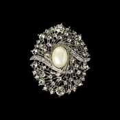 Elegant Vintage Crystal Bridal Pin for Hair or Gown Brooch 28 Antique Silver Ivory