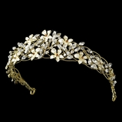 * Exquisite Gold Floral Flexable Bridal Tiara HP 7329