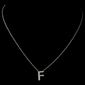 """F"" Sterling Silver CZ Crystal Initial Necklace 4407"