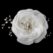 Fabric Hair Flower Freshwater Pearl & Rhinestone Gold Clip 12