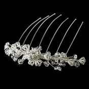 Fabulous Silver Floral Hair Comb w/ Clear Rhinestones & Swarovski Crystals 8838