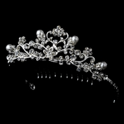 Fancy Pearl & Rhinestone Flower Girl Tiara Comb HPC 760