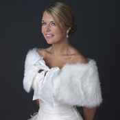 Faux Fur Angora Wrap with Satin Ribbon