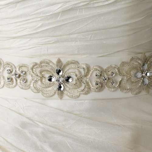 Floral Embroidered Belt 250 with Rhinestones, Beads & Swarovski Crystal Beads