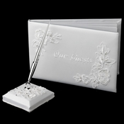 """Floral Embroidery """"Our Guests"""" Guestbook & Pen Set Ivory Only"""
