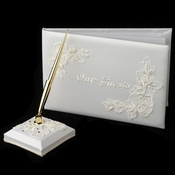 """Floral Embroidery """"Our Guests"""" Guestbook & Pen Set"""