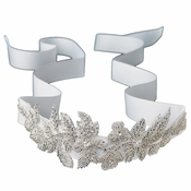 Floral Leaf Sash Belt/Headband with Silver Bugle Beads & Rhinestones Ivory Ribbon