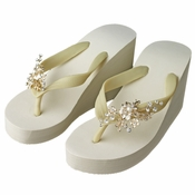 Floral Light Gold Vine High Wedge Flip Flops with Rhinestone & Pearl Accents
