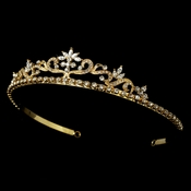 Floral  Tiara HP 11109 Gold Clear (no pearl)