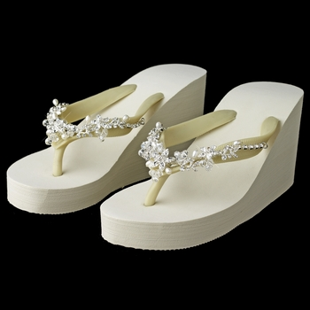 Floral Vine High Wedge Flip Flops with Crystal & Freshwater Pearl Accents