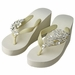 Floral Vine High Wedge Flip Flops with Rhinestone Accents