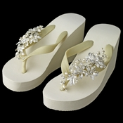 Floral Vine High Wedge Flip Flops with Rhinestone & Freshwater Pearl Accents