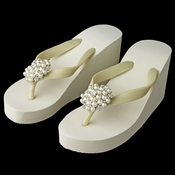 Flower Cluster Rhinestone & Pearl High Wedge Flip Flops