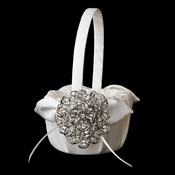 Flower Girl Basket 17 with Antique Silver Clear AB Crystal Floral Brooch 53