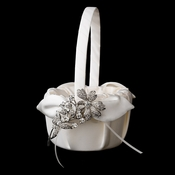 Flower Girl Basket 17 with Antique Silver Clear Vintage Flower Brooch 85