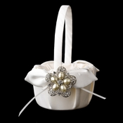 Flower Girl Basket 17 with Antique Silver Floral Star Pearl Brooch 117