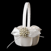Flower Girl Basket 17 with Floral Cluster Pearl Brooch 31