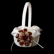 Flower Girl Basket 17 with Gold Red Crystal & Rhinestone Floral Brooch 8779