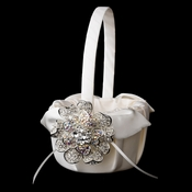 Flower Girl Basket 17 with Silver AB Crystal & Rhinestone Floral Brooch 8779