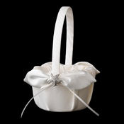 Flower Girl Basket 17 with Silver Clear Beach Starfish Brooch 3168