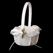 Flower Girl Basket 17 with Silver Ivory Pearl Lily Flower Brooch 70