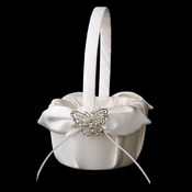 Flower Girl Basket 17 with Silver Rhinestone Butterfly Brooch 3178