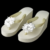 Flower High Wedge Flip Flops with Rhinestone Accents