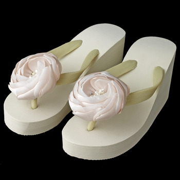 Flower High Wedge Flip Flops with Rhinestone & Pearl Accents
