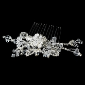 Flower Rhinestone Crystal Glamour Bridal Hair Comb 8417